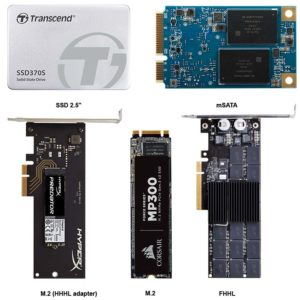 Photos comparing Solid State Drive sizes and form factor types