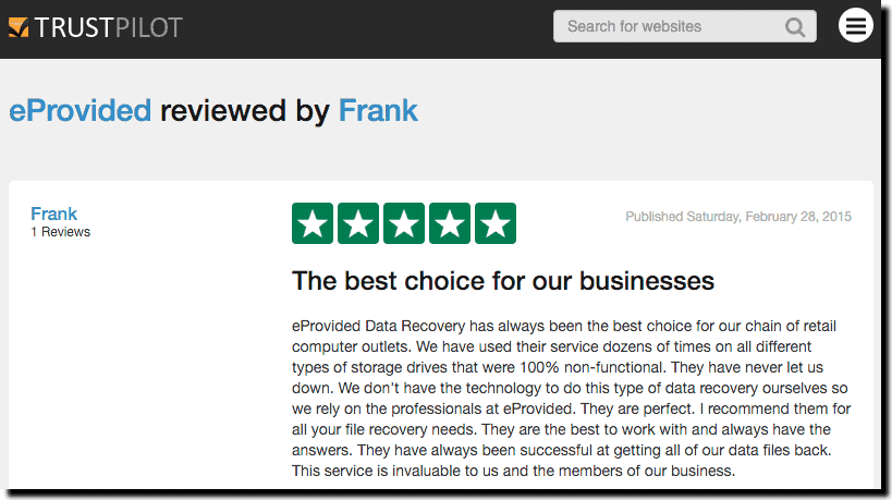 eProvided Review TrustPilot
